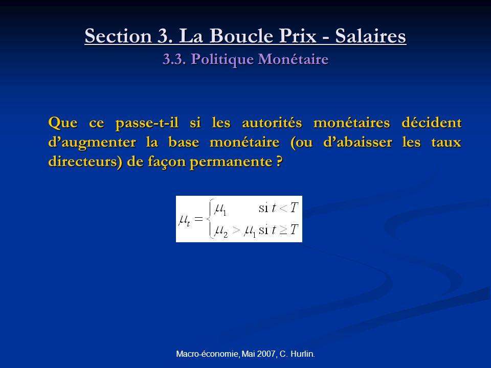 Macro-économie, Mai 2007, C. Hurlin. Section 3. La Boucle Prix - Salaires 3.3. Politique Monétaire Que ce passe-t-il si les autorités monétaires décid