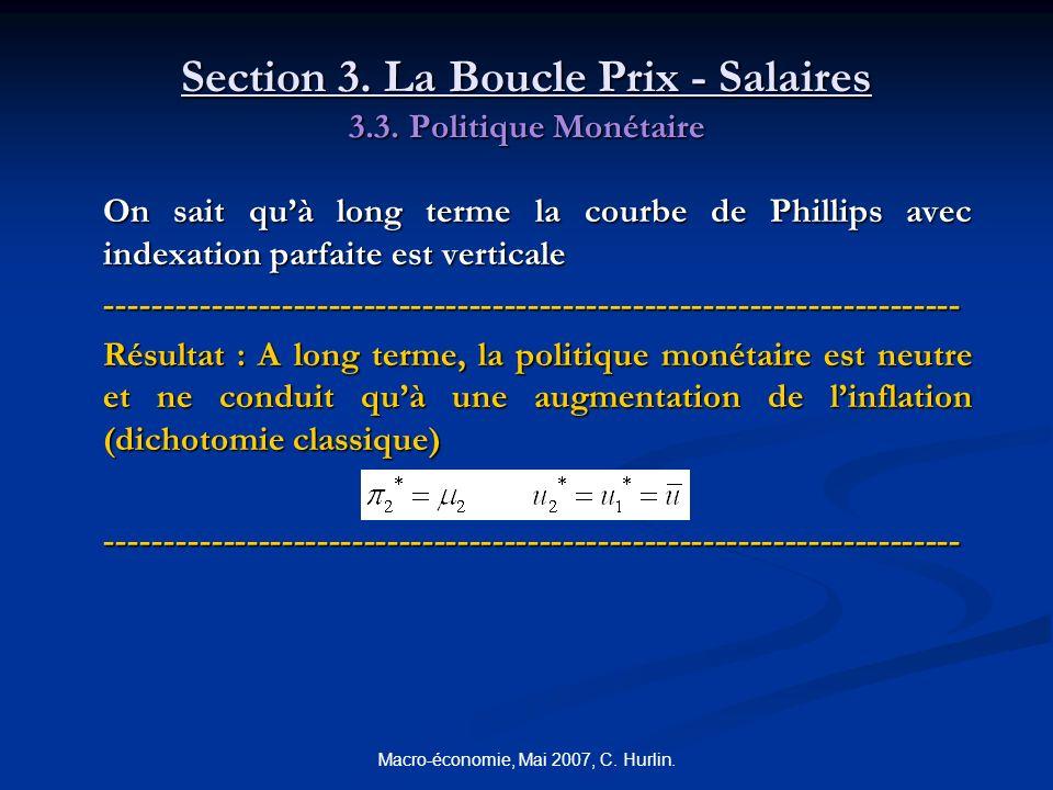 Macro-économie, Mai 2007, C. Hurlin. Section 3. La Boucle Prix - Salaires 3.3. Politique Monétaire On sait quà long terme la courbe de Phillips avec i