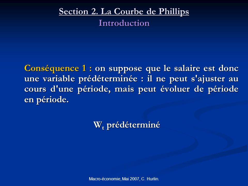 Macro-économie, Mai 2007, C. Hurlin. Section 2. La Courbe de Phillips Introduction Conséquence 1 : on suppose que le salaire est donc une variable pré