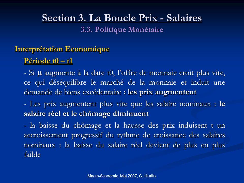 Macro-économie, Mai 2007, C. Hurlin. Section 3. La Boucle Prix - Salaires 3.3. Politique Monétaire Interprétation Economique Période t0 – t1 - Si augm