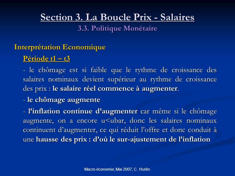 Macro-économie, Mai 2007, C. Hurlin. Section 3. La Boucle Prix - Salaires 3.3. Politique Monétaire Interprétation Economique Période t1 – t3 - le chôm