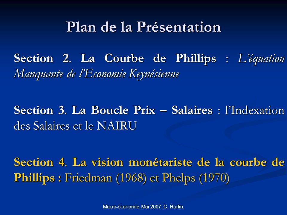 Macro-économie, Mai 2007, C. Hurlin. Plan de la Présentation Section 2. La Courbe de Phillips : Léquation Manquante de lEconomie Keynésienne Section 3