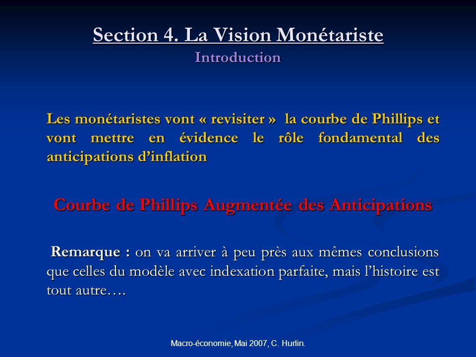 Macro-économie, Mai 2007, C. Hurlin. Section 4. La Vision Monétariste Introduction Les monétaristes vont « revisiter » la courbe de Phillips et vont m