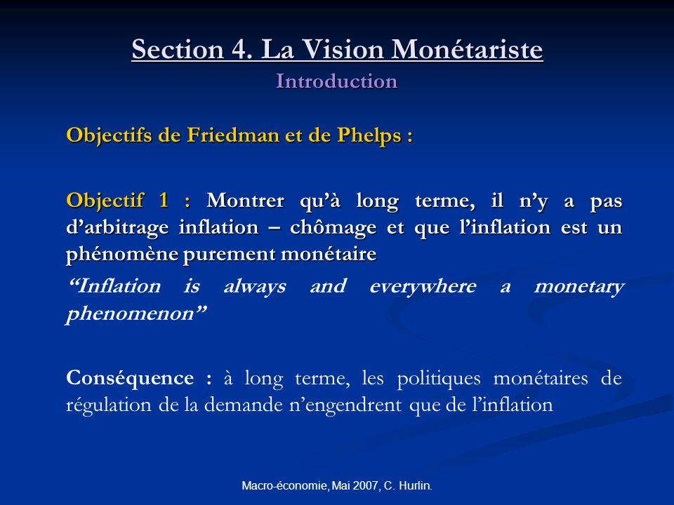 Macro-économie, Mai 2007, C. Hurlin. Section 4. La Vision Monétariste Introduction Objectifs de Friedman et de Phelps : Objectif 1 : Montrer quà long