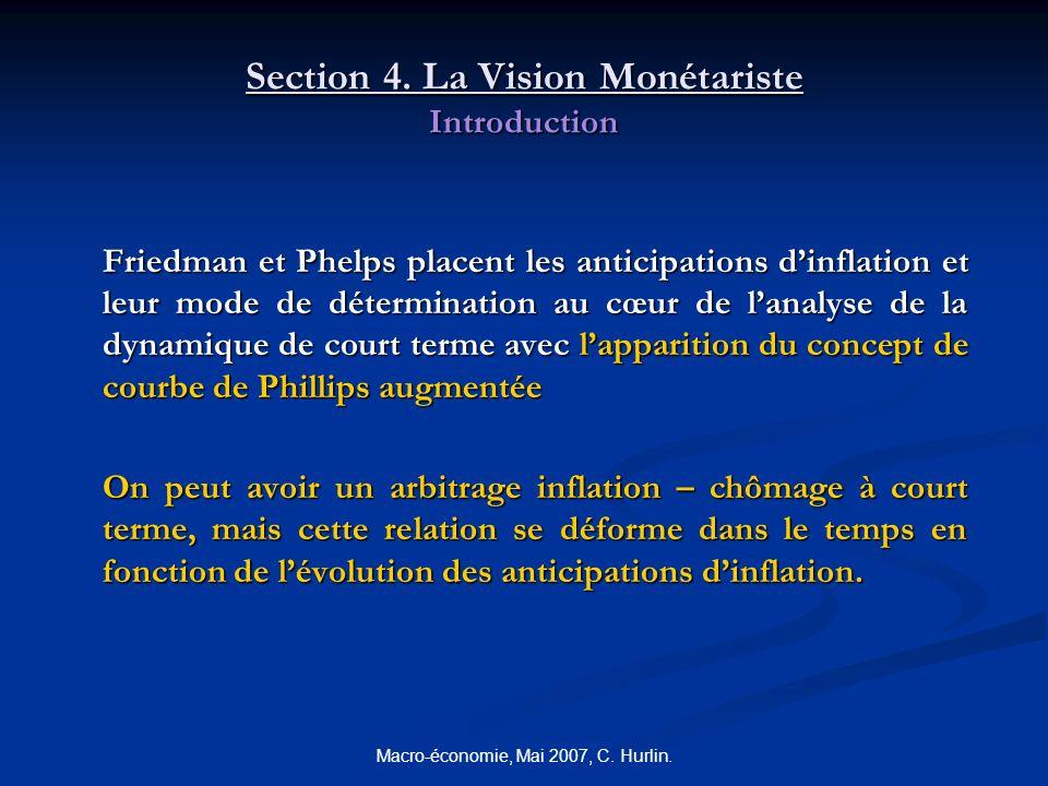 Macro-économie, Mai 2007, C. Hurlin. Section 4. La Vision Monétariste Introduction Friedman et Phelps placent les anticipations dinflation et leur mod