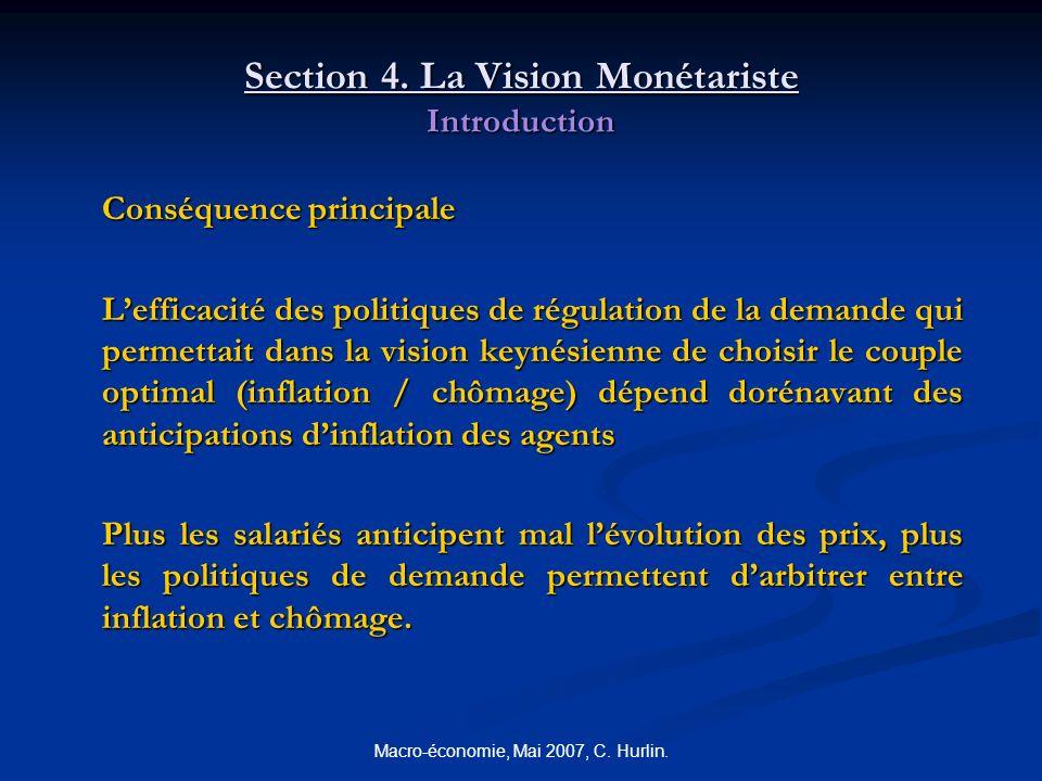Macro-économie, Mai 2007, C. Hurlin. Section 4. La Vision Monétariste Introduction Conséquence principale Lefficacité des politiques de régulation de