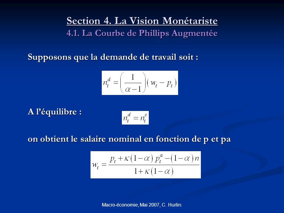 Macro-économie, Mai 2007, C. Hurlin. Section 4. La Vision Monétariste 4.1. La Courbe de Phillips Augmentée Supposons que la demande de travail soit :
