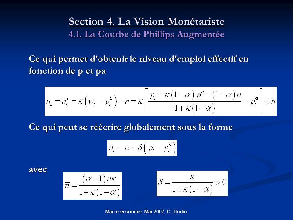Macro-économie, Mai 2007, C. Hurlin. Section 4. La Vision Monétariste 4.1. La Courbe de Phillips Augmentée Ce qui permet dobtenir le niveau demploi ef