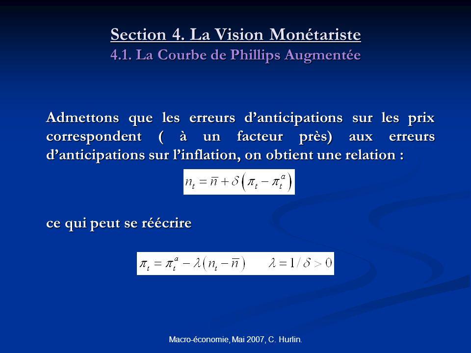 Macro-économie, Mai 2007, C. Hurlin. Section 4. La Vision Monétariste 4.1. La Courbe de Phillips Augmentée Admettons que les erreurs danticipations su