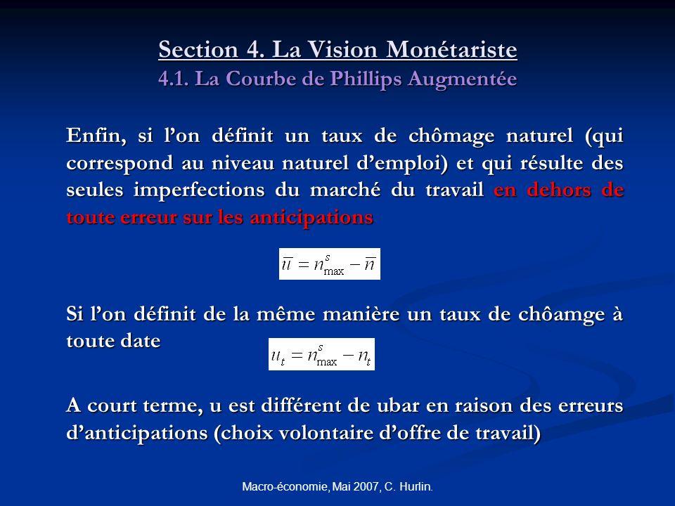 Macro-économie, Mai 2007, C. Hurlin. Section 4. La Vision Monétariste 4.1. La Courbe de Phillips Augmentée Enfin, si lon définit un taux de chômage na