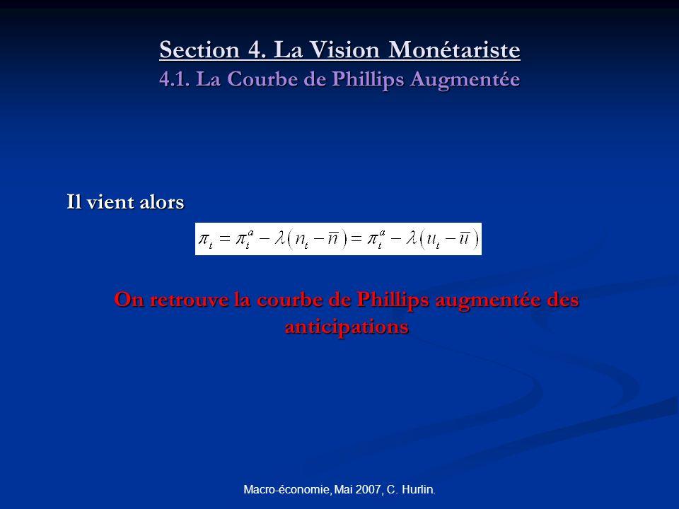 Macro-économie, Mai 2007, C. Hurlin. Section 4. La Vision Monétariste 4.1. La Courbe de Phillips Augmentée Il vient alors On retrouve la courbe de Phi