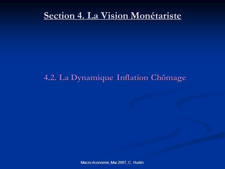 Macro-économie, Mai 2007, C. Hurlin. Section 4. La Vision Monétariste 4.2. La Dynamique Inflation Chômage