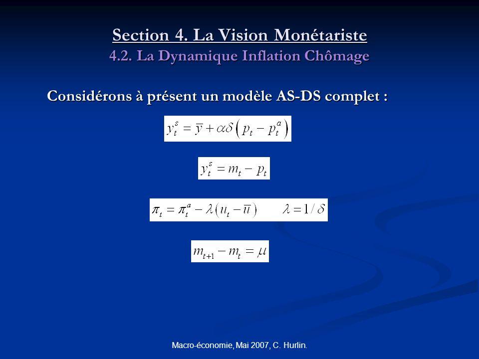 Macro-économie, Mai 2007, C. Hurlin. Section 4. La Vision Monétariste 4.2. La Dynamique Inflation Chômage Considérons à présent un modèle AS-DS comple