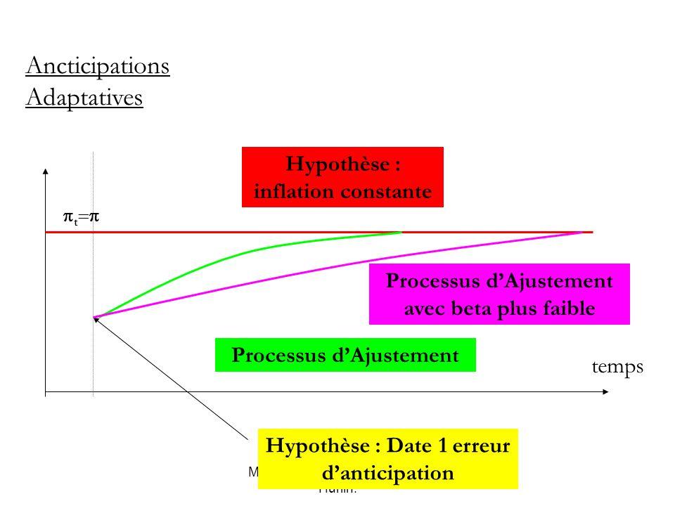 Macro-économie, Mai 2007, C. Hurlin. t Ancticipations Adaptatives temps Hypothèse : inflation constante Hypothèse : Date 1 erreur danticipation Proces