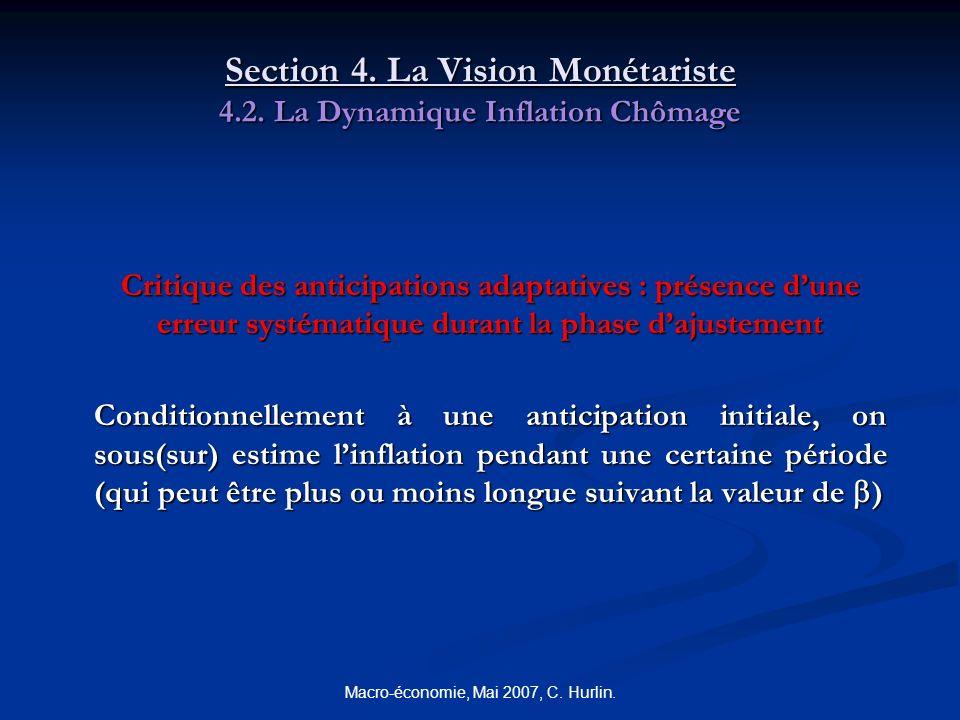 Macro-économie, Mai 2007, C. Hurlin. Section 4. La Vision Monétariste 4.2. La Dynamique Inflation Chômage Critique des anticipations adaptatives : pré