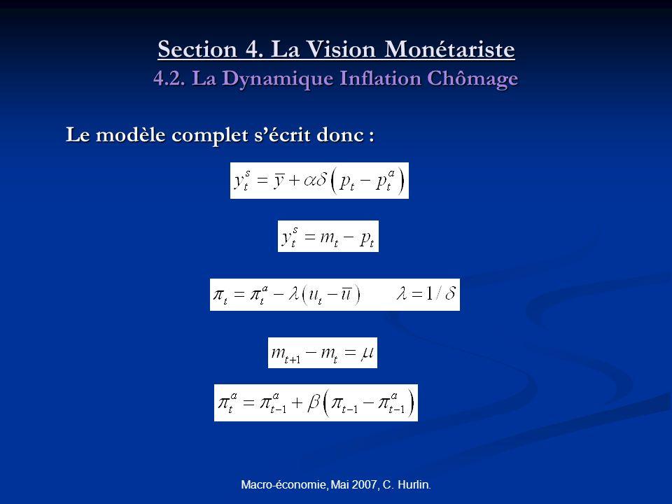 Macro-économie, Mai 2007, C. Hurlin. Section 4. La Vision Monétariste 4.2. La Dynamique Inflation Chômage Le modèle complet sécrit donc :