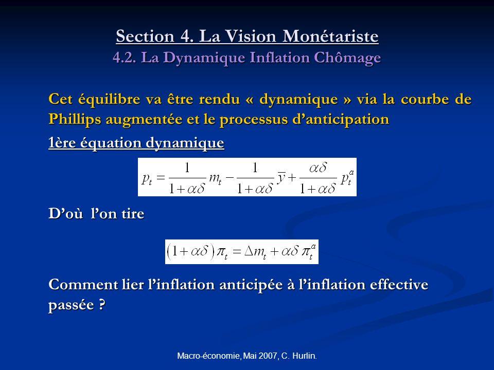 Macro-économie, Mai 2007, C. Hurlin. Section 4. La Vision Monétariste 4.2. La Dynamique Inflation Chômage Cet équilibre va être rendu « dynamique » vi