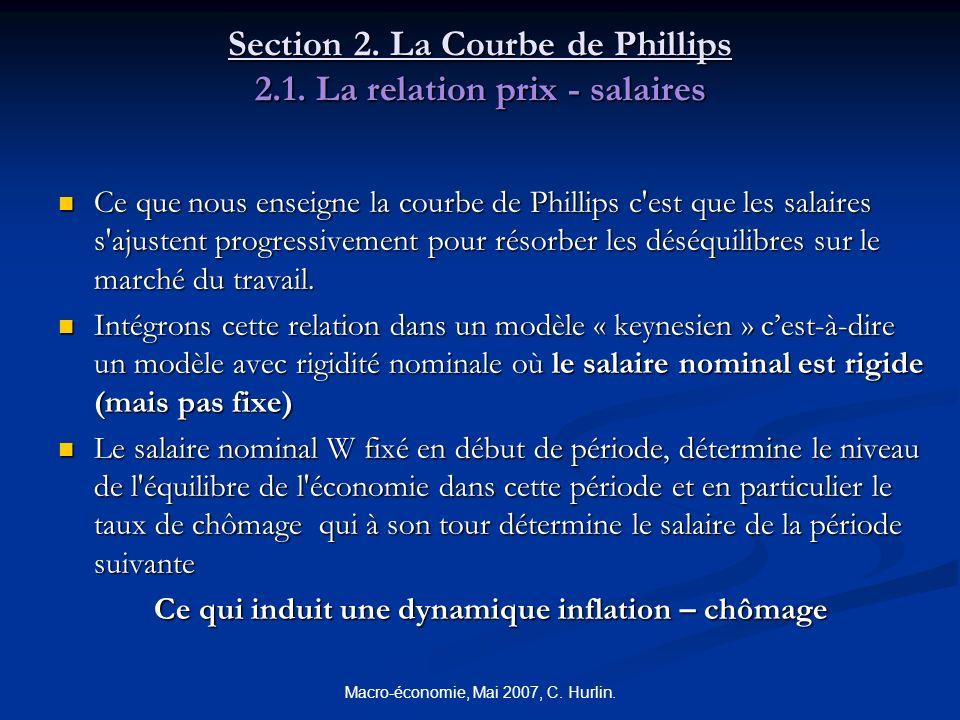 Macro-économie, Mai 2007, C. Hurlin. Section 2. La Courbe de Phillips 2.1. La relation prix - salaires Ce que nous enseigne la courbe de Phillips c'es