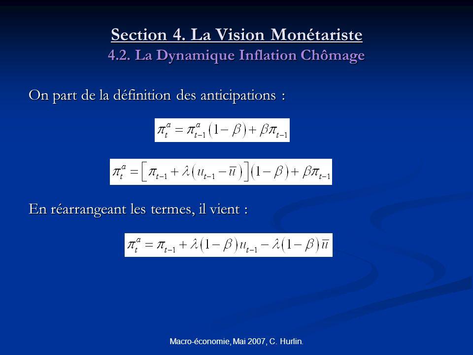 Macro-économie, Mai 2007, C. Hurlin. Section 4. La Vision Monétariste 4.2. La Dynamique Inflation Chômage On part de la définition des anticipations :