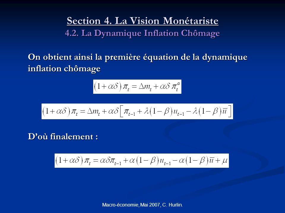 Macro-économie, Mai 2007, C. Hurlin. Section 4. La Vision Monétariste 4.2. La Dynamique Inflation Chômage On obtient ainsi la première équation de la