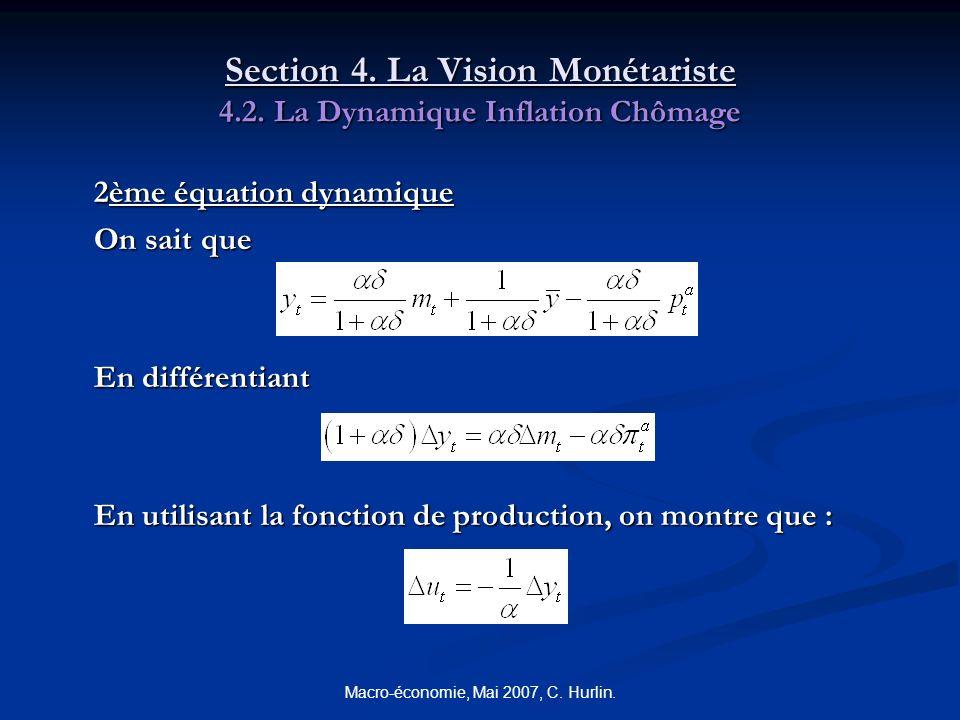 Macro-économie, Mai 2007, C. Hurlin. Section 4. La Vision Monétariste 4.2. La Dynamique Inflation Chômage 2ème équation dynamique On sait que En diffé