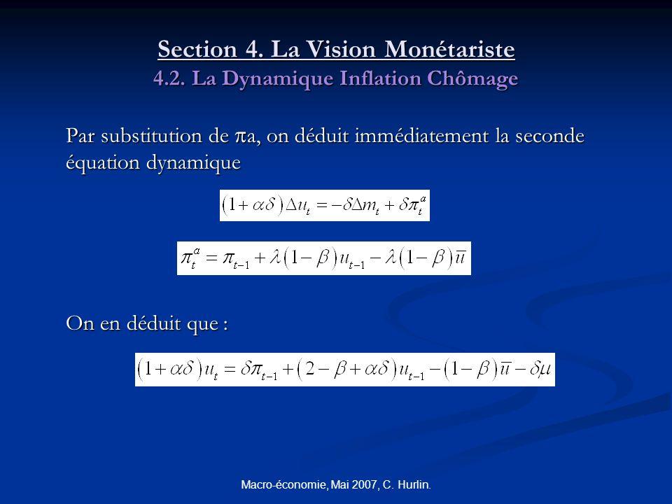 Macro-économie, Mai 2007, C. Hurlin. Section 4. La Vision Monétariste 4.2. La Dynamique Inflation Chômage Par substitution de a, on déduit immédiateme