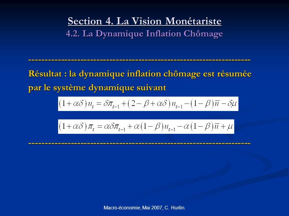 Macro-économie, Mai 2007, C. Hurlin. Section 4. La Vision Monétariste 4.2. La Dynamique Inflation Chômage --------------------------------------------