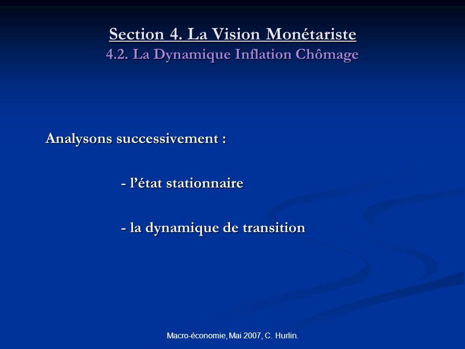 Macro-économie, Mai 2007, C. Hurlin. Section 4. La Vision Monétariste 4.2. La Dynamique Inflation Chômage Analysons successivement : - létat stationna