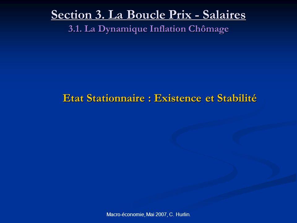 Macro-économie, Mai 2007, C. Hurlin. Section 3. La Boucle Prix - Salaires 3.1. La Dynamique Inflation Chômage Etat Stationnaire : Existence et Stabili