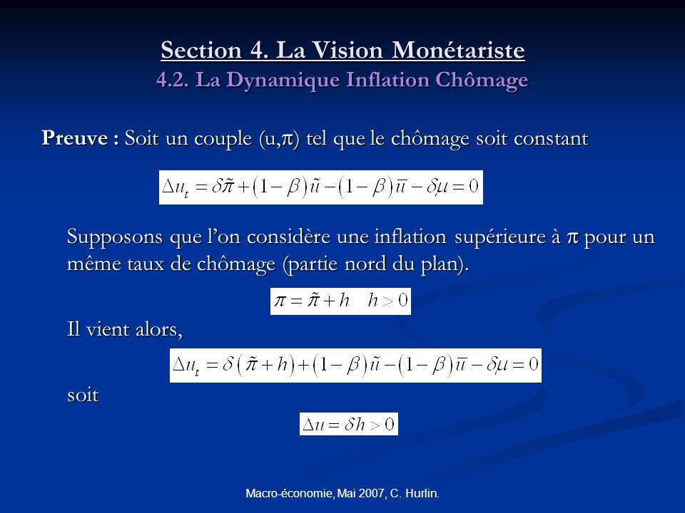 Macro-économie, Mai 2007, C. Hurlin. Section 4. La Vision Monétariste 4.2. La Dynamique Inflation Chômage Preuve : Soit un couple (u, ) tel que le chô
