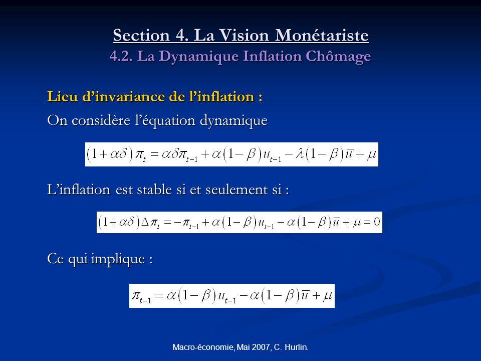 Macro-économie, Mai 2007, C. Hurlin. Section 4. La Vision Monétariste 4.2. La Dynamique Inflation Chômage Lieu dinvariance de linflation : On considèr