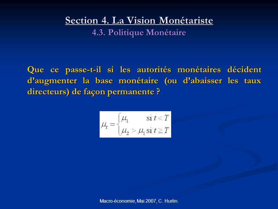 Macro-économie, Mai 2007, C. Hurlin. Section 4. La Vision Monétariste 4.3. Politique Monétaire Que ce passe-t-il si les autorités monétaires décident