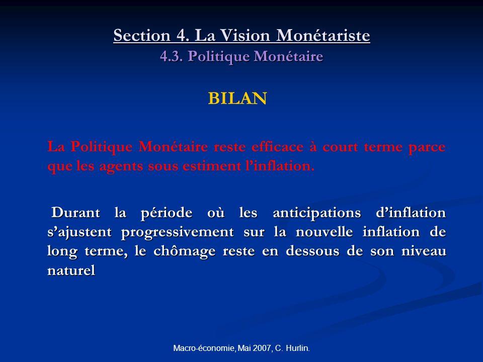 Macro-économie, Mai 2007, C. Hurlin. Section 4. La Vision Monétariste 4.3. Politique Monétaire BILAN La Politique Monétaire reste efficace à court ter