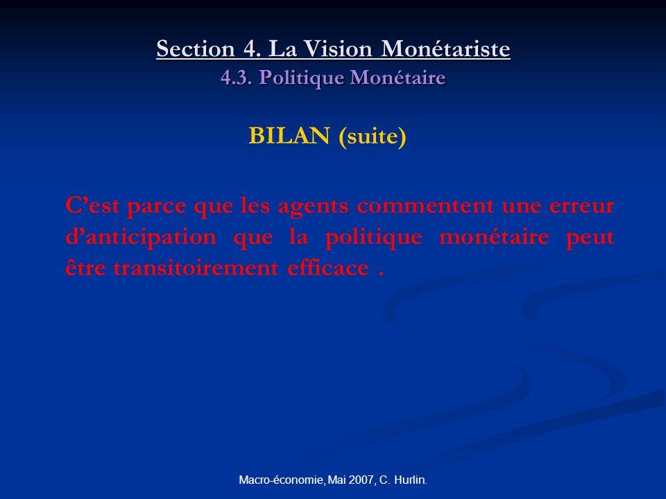 Macro-économie, Mai 2007, C. Hurlin. Section 4. La Vision Monétariste 4.3. Politique Monétaire BILAN (suite) Cest parce que les agents commentent une