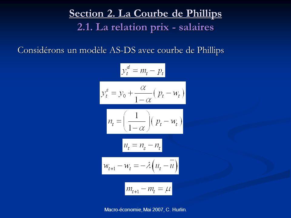 Macro-économie, Mai 2007, C. Hurlin. Section 2. La Courbe de Phillips 2.1. La relation prix - salaires Considérons un modèle AS-DS avec courbe de Phil