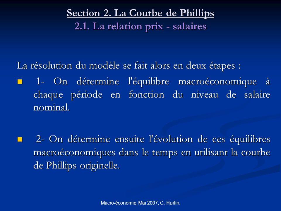 Macro-économie, Mai 2007, C. Hurlin. Section 2. La Courbe de Phillips 2.1. La relation prix - salaires La résolution du modèle se fait alors en deux é
