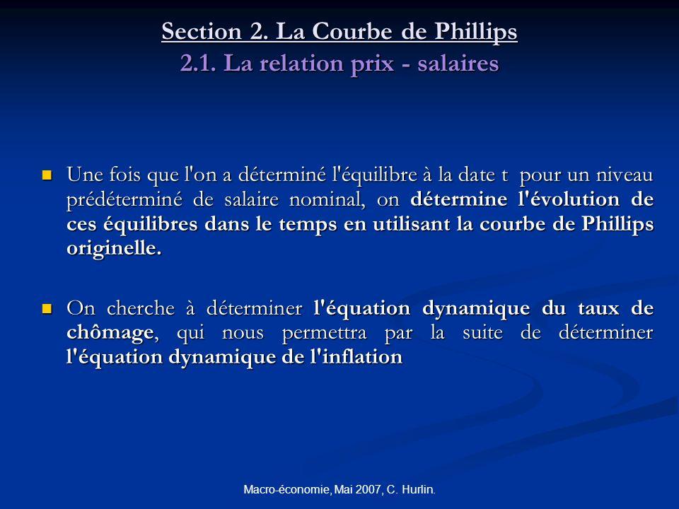Macro-économie, Mai 2007, C. Hurlin. Section 2. La Courbe de Phillips 2.1. La relation prix - salaires Une fois que l'on a déterminé l'équilibre à la