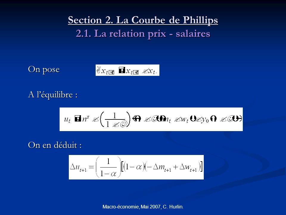 Macro-économie, Mai 2007, C. Hurlin. Section 2. La Courbe de Phillips 2.1. La relation prix - salaires On pose A léquilibre : On en déduit :