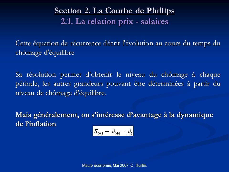 Macro-économie, Mai 2007, C. Hurlin. Section 2. La Courbe de Phillips 2.1. La relation prix - salaires Cette équation de récurrence décrit l'évolution