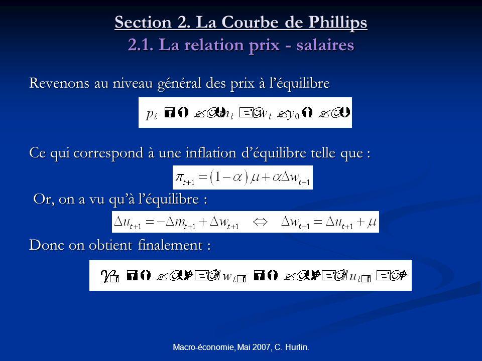 Macro-économie, Mai 2007, C. Hurlin. Section 2. La Courbe de Phillips 2.1. La relation prix - salaires Revenons au niveau général des prix à léquilibr