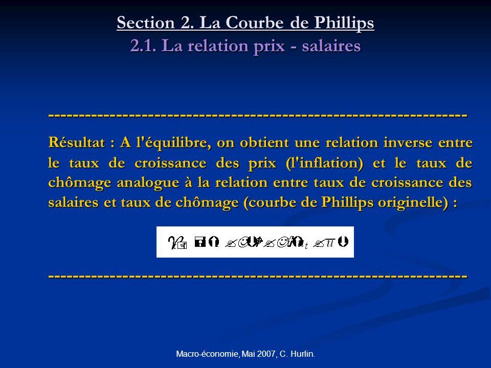 Macro-économie, Mai 2007, C. Hurlin. Section 2. La Courbe de Phillips 2.1. La relation prix - salaires -----------------------------------------------