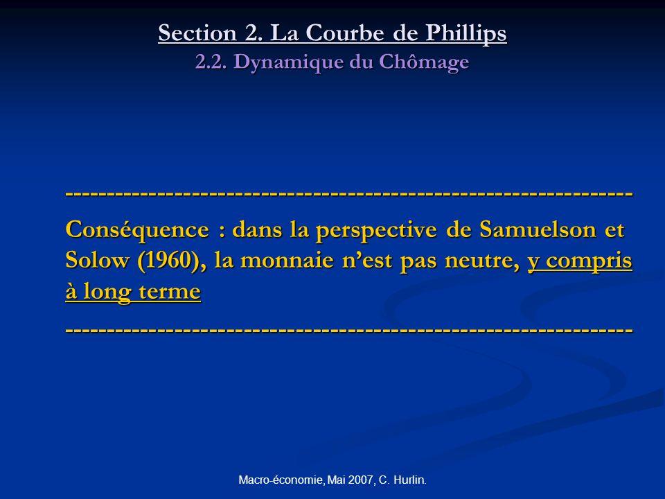 Macro-économie, Mai 2007, C. Hurlin. Section 2. La Courbe de Phillips 2.2. Dynamique du Chômage ------------------------------------------------------