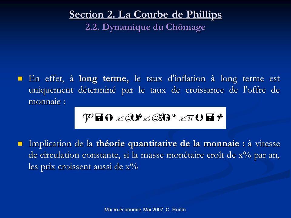 Macro-économie, Mai 2007, C. Hurlin. Section 2. La Courbe de Phillips 2.2. Dynamique du Chômage En effet, à long terme, le taux d'inflation à long ter