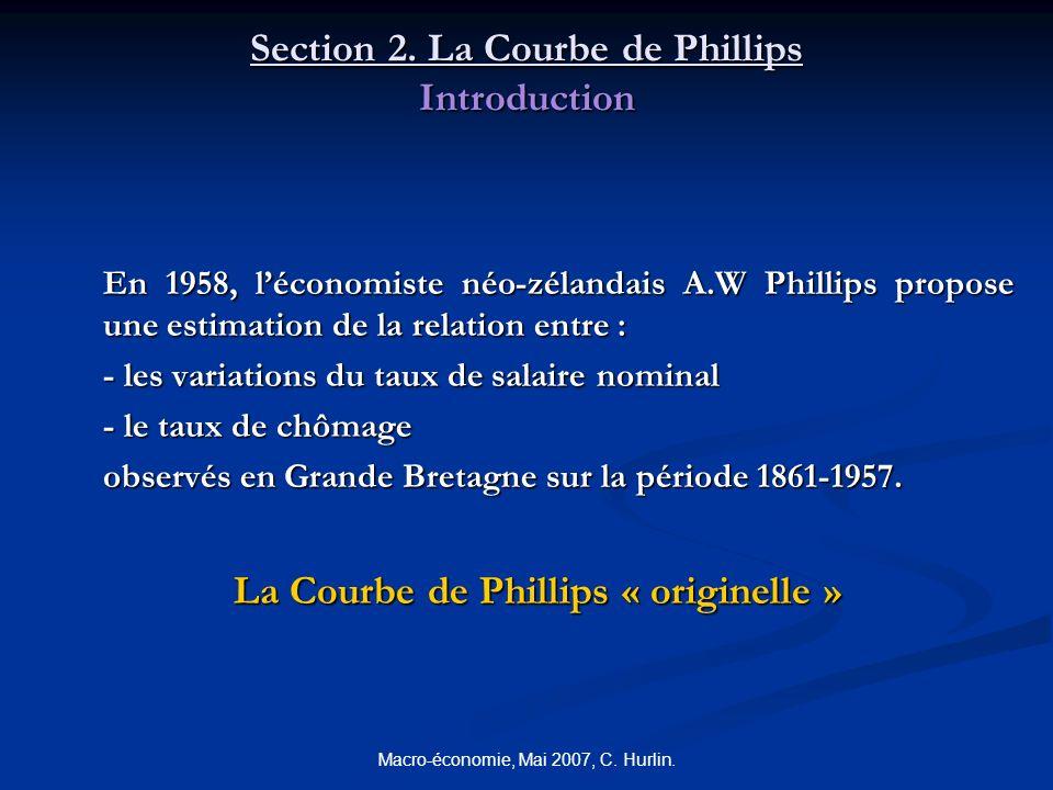 Macro-économie, Mai 2007, C. Hurlin. Section 2. La Courbe de Phillips Introduction En 1958, léconomiste néo-zélandais A.W Phillips propose une estimat