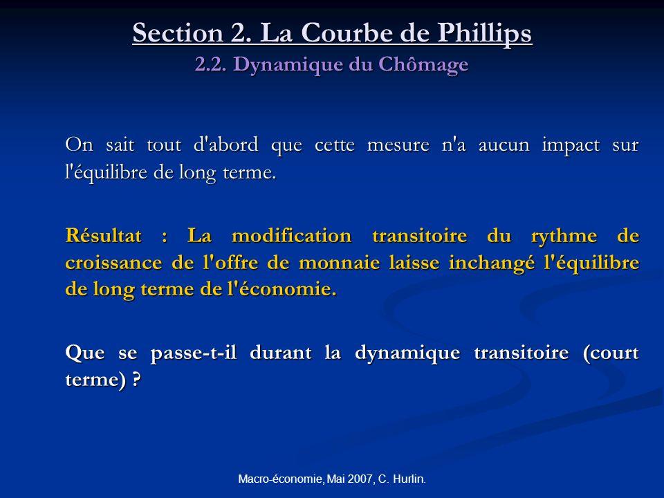 Macro-économie, Mai 2007, C. Hurlin. Section 2. La Courbe de Phillips 2.2. Dynamique du Chômage On sait tout d'abord que cette mesure n'a aucun impact