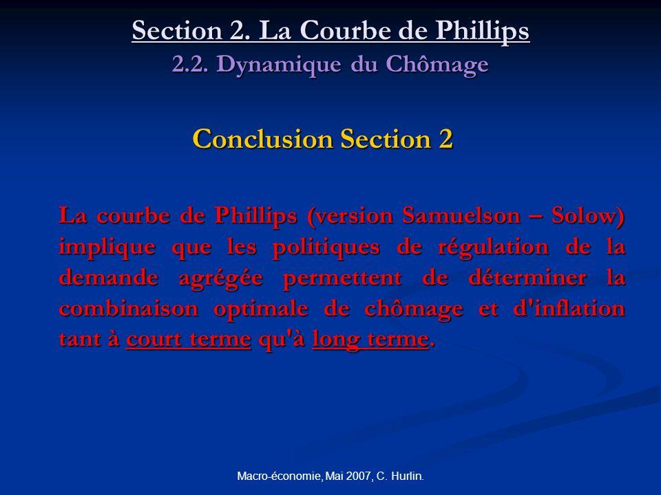 Macro-économie, Mai 2007, C. Hurlin. Section 2. La Courbe de Phillips 2.2. Dynamique du Chômage Conclusion Section 2 La courbe de Phillips (version Sa