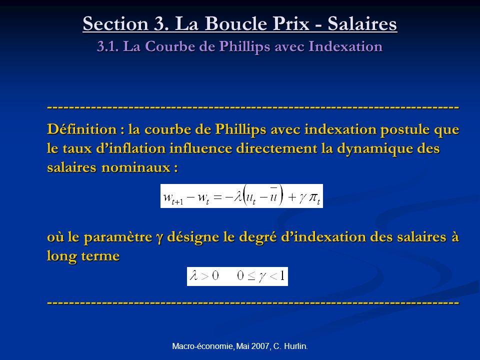 Macro-économie, Mai 2007, C. Hurlin. Section 3. La Boucle Prix - Salaires 3.1. La Courbe de Phillips avec Indexation ---------------------------------