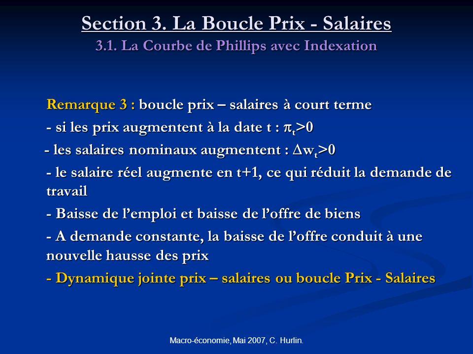 Macro-économie, Mai 2007, C. Hurlin. Section 3. La Boucle Prix - Salaires 3.1. La Courbe de Phillips avec Indexation Remarque 3 : boucle prix – salair