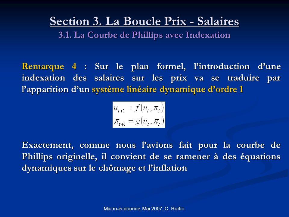 Macro-économie, Mai 2007, C. Hurlin. Section 3. La Boucle Prix - Salaires 3.1. La Courbe de Phillips avec Indexation Remarque 4 : Sur le plan formel,