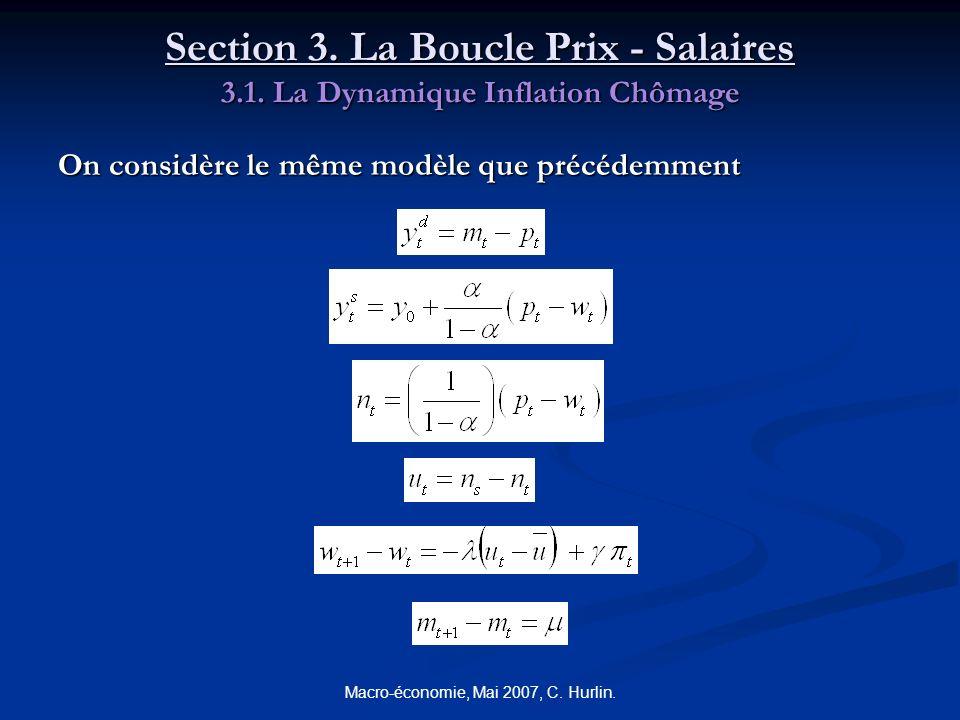 Macro-économie, Mai 2007, C. Hurlin. Section 3. La Boucle Prix - Salaires 3.1. La Dynamique Inflation Chômage On considère le même modèle que précédem